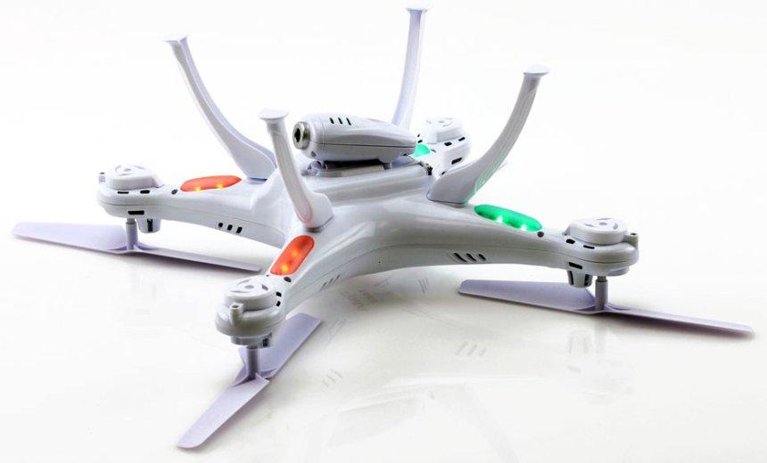 Il drone SYMA X5SC Explorers 2 a gambe all'aria: notare i LED di segnalazione e la lunghezza delle gambe