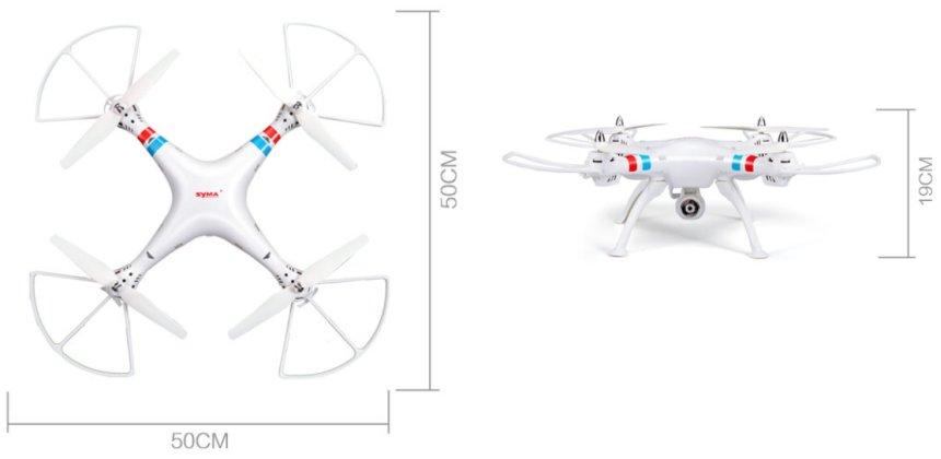 Le dimensioni del drone SYMA X8C raggiungono esattamente il mezzo metro (70 cm l'apertura alare diagonale) e 19 d'altezza
