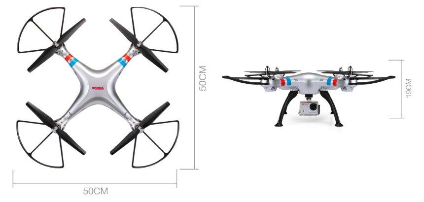 Il drone Syma X8G misura 50 centimetri di lato, pertanto l'apertura alare diagonale arriva a ben 70 centimetri