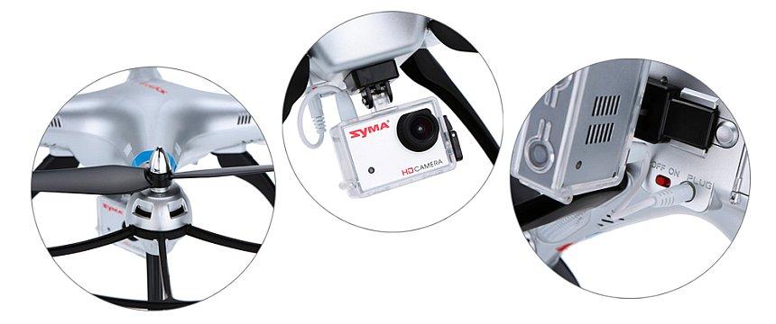 Dettaglio del motore, della videocamera HD collegata sotto la pancia del drone Syma X8G