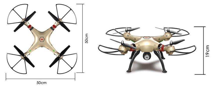 Il drone Syma X8HC misura 50 centimetri di lato, pertanto l'apertura alare diagonale arriva a ben 70 centimetri
