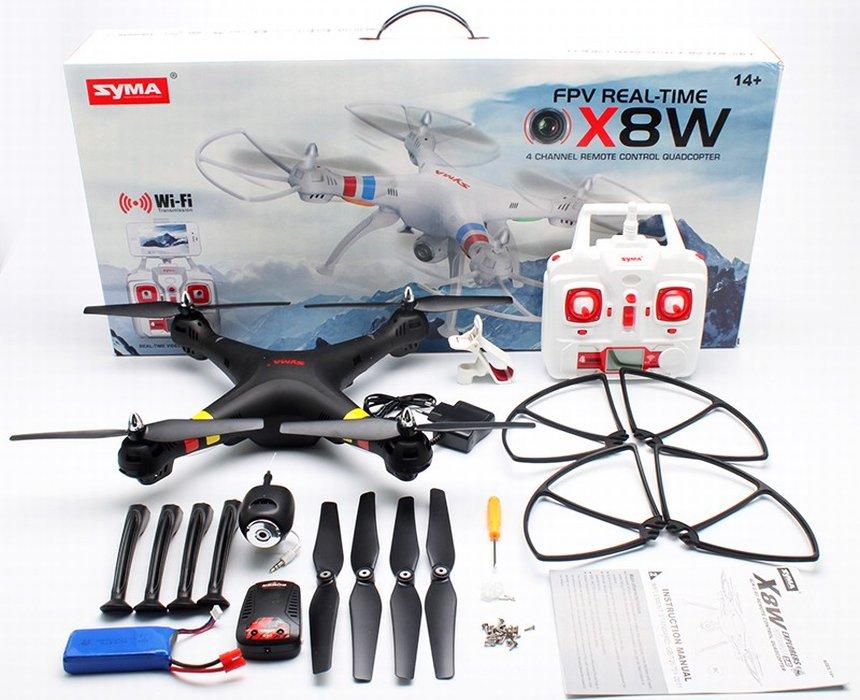 Il drone SYMA X8W FPV completo di tutto, così come vi arriverà a casa