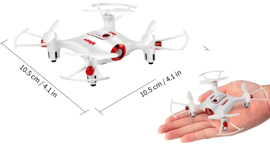 Il mini drone Syma X20 Pocket raggiunge i 10 centimetri circa, per un'altezza di quasi 3 centimetri