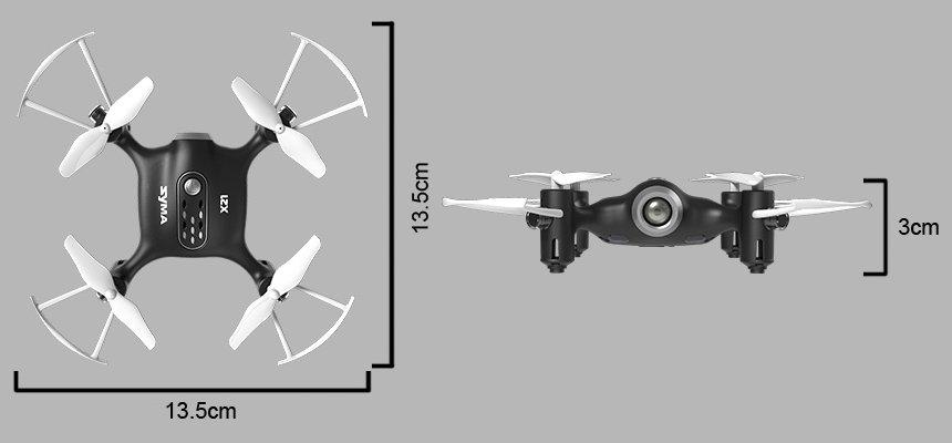 Il mini drone Syma X21 raggiunge quasi i 14 centimetri, per un'altezza di 3 centimetri