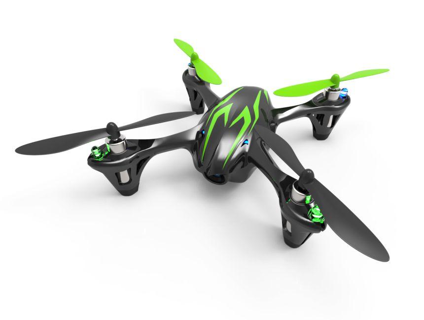 Quadricottero Hubsan X4 H107C Nero/Verde, con videocamera 720p HD