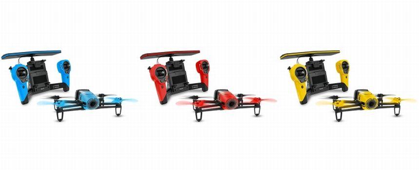 Il drone Parrot Bebop con SkyController nelle 3 varianti disponibili: blu, rossa e gialla