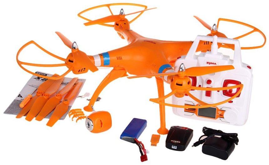 Il drone SYMA X8C Venture completo di tutto così come vi arriverà a casa, incluse 4 eliche di riserva
