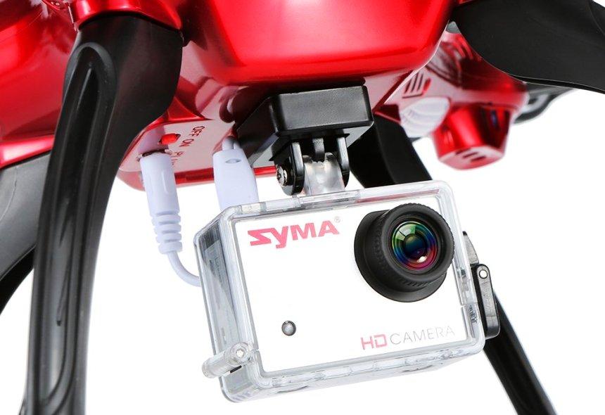 Dettaglio della videocamera HD da 8MP montata sul quadricottero Syma X8HG