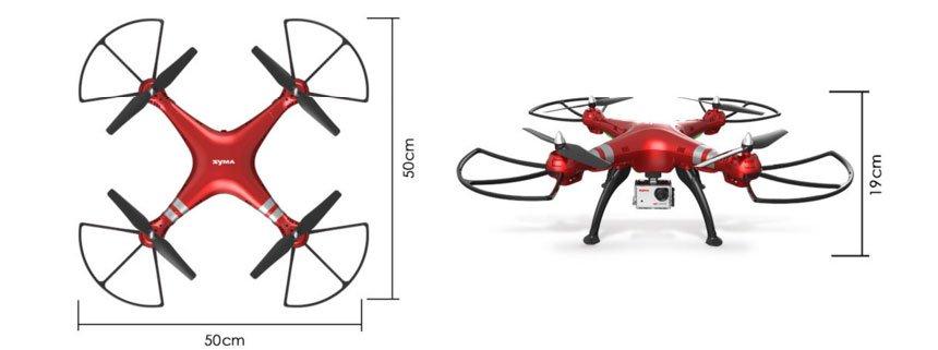 Il drone Syma X8HG misura 50 centimetri, quindi l'apertura alare diagonale arriva a ben 70 centimetri