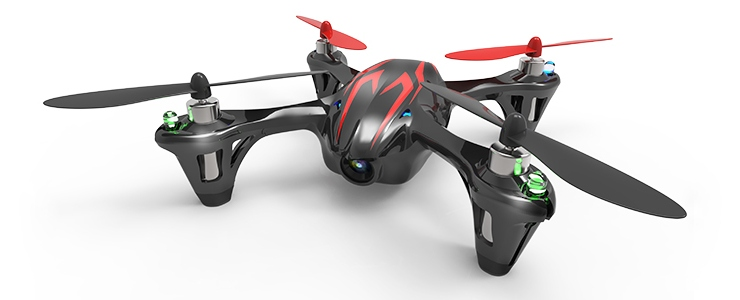Quadricottero Hubsan X4 H107C Nero/Rosso, con videocamera 720p HD
