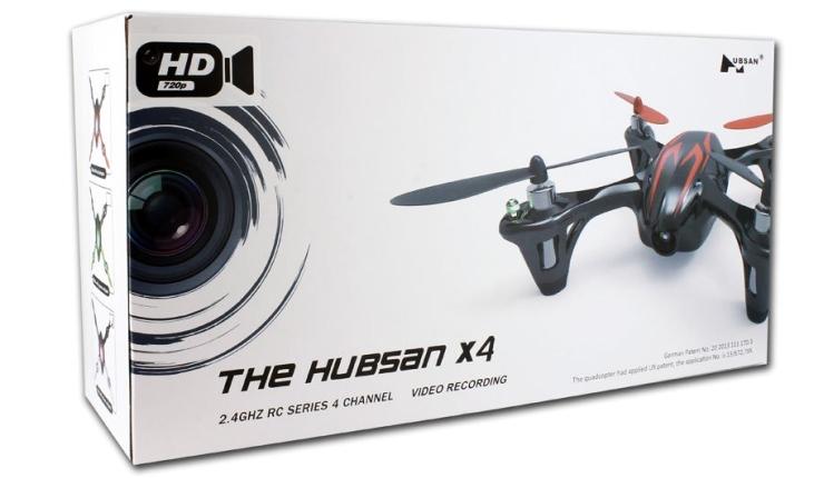 La nuova confezione dell'Hubsan X4 H107C con il simbolo della videocamera 720p HD