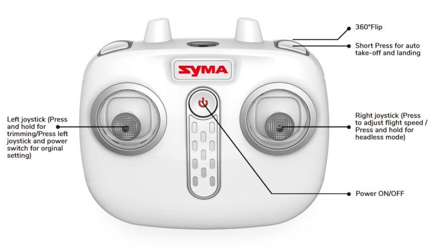 Il radiocomando del Syma X21 è estremamente semplice da usare, anche da un bambino